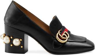 Gucci Leather mid-heel loafer