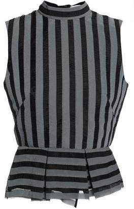 Erdem Striped Organza Peplum Top