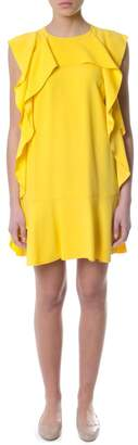 RED Valentino Crepe Envers Yellow Dress With Trim Details