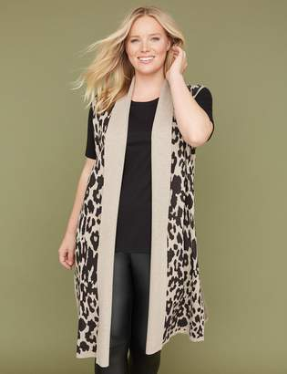 Lane Bryant Leopard Jacquard Sweater Duster Vest