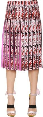Emilio Pucci Printed Pleated Silk Twill Skirt