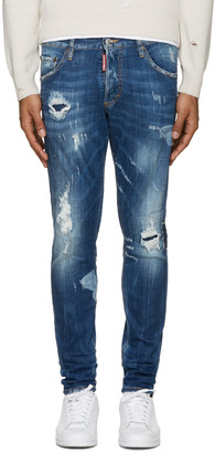 Dsquared2 Blue Destroyed Skinny Dan Jeans $590 thestylecure.com