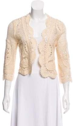 Valentino Crochet Open Front Cardigan