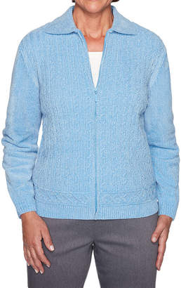 Alfred Dunner Classics Chenille Womens Long Sleeve Cardigan