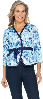 Isaac Mizrahi Live! Floral Print Belted Knit Jacket