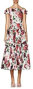 Dolce & Gabbana Women's Peony-Print Cotton Poplin Maxi Dress-White