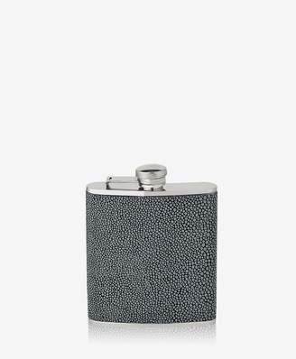 GiGi New York 6 Oz Flask In Grey Shagreen Leather