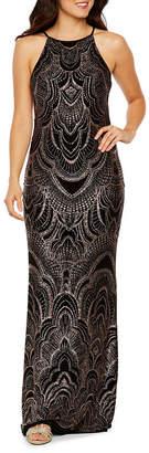 BLU SAGE Blu Sage Sleeveless Glitter Knit Evening Gown