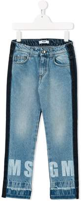 MSGM Kids two-tone logo print jeans
