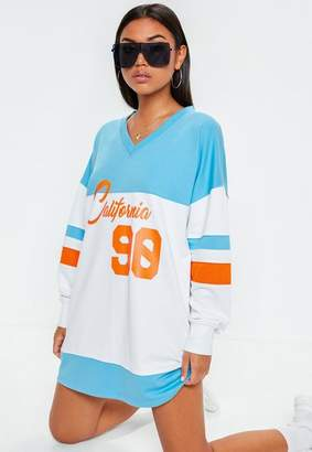 Missguided Blue V Neck Color Block Oversized California Sweat Dress
