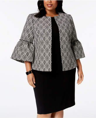 Kasper Plus Size Printed Bell-Sleeve Jacket