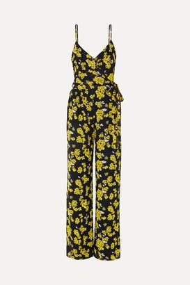 MICHAEL Michael Kors Glam Fleur Floral-print Georgette Wrap Jumpsuit - Black