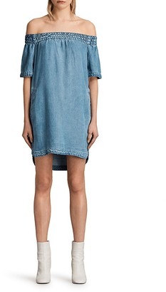 ALLSAINTS Zoe Off-the-Shoulder Chambray Dress $178 thestylecure.com