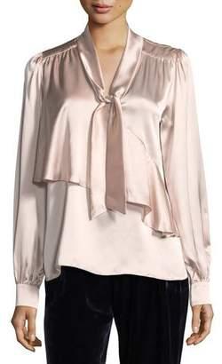 Parker Kinsley Tie-Neck Long-Sleeve Silk Satin Blouse