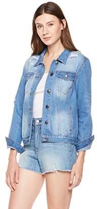 Parker Lily Women's Distressed Button Front Denim Jacket