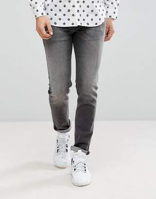 Love Moschino Slim Fit Jeans in Washed Black