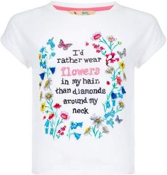 Yumi Girls Flower Slogan T-Shirt