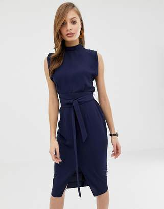 Asos Design DESIGN split sleeve midi dress with obi belt