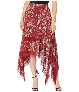 BCBGMAXAZRIA Women's Floral Toile Handkerchief Skirt