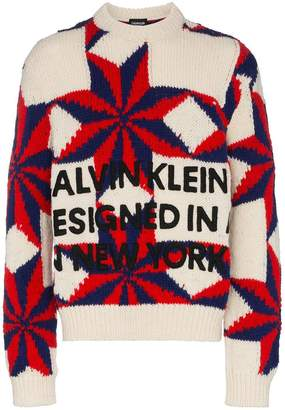 Calvin Klein Star and Logo Wool Knit Sweater
