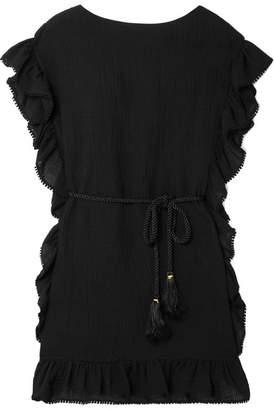 Rachel Zoe Serafina Ruffle-trimmed Cotton And Linen-blend Mini Dress - Black