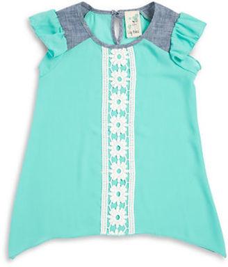 Lily Bleu Girls 2-6x Crocheted Chiffon Top $26 thestylecure.com