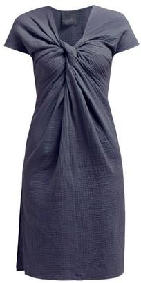Loup Charmant Gilgo Knotted Cotton Gauze Mini Dress - Womens - Dark Blue