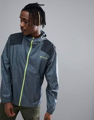 Columbia Flashback Hooded Windbreaker Jacket Lightweight In Dark Grey