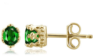FINE JEWELRY Green Chrome Diopside 14K Gold Over Silver 4.1mm Stud Earrings