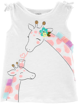 Carter's Girls Round Neck Sleeveless Embellished Graphic T-Shirt-Toddler