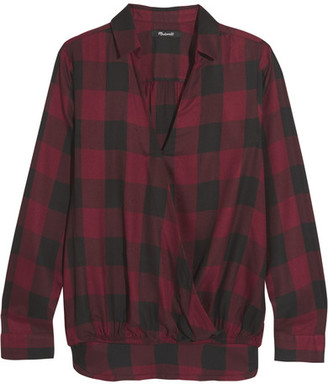 Madewell - Wrap-effect Checked Voile Shirt - Burgundy $80 thestylecure.com