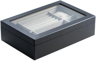 Bey-Berk Bey Berk Wood Valet And Watch Box With Glass Top