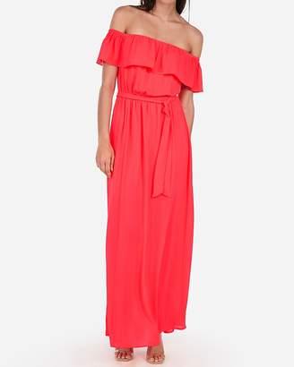 Express Off The Shoulder Tie Front Maxi Dress