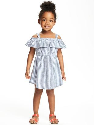Striped Off-the-Shoulder Fit & Flare Dress for Toddler $19.94 thestylecure.com