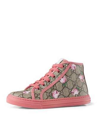 Gucci California GG Supreme Printed High-Top Sneaker, Pink, Youth $365 thestylecure.com