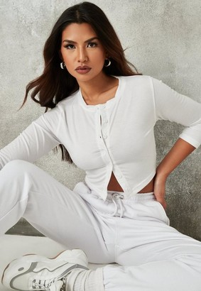Missguided White Button Front Crop Top