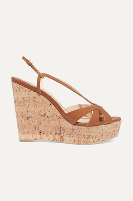 Christian Louboutin Lady Wedgy 120 Leather Wedge Sandals - Tan