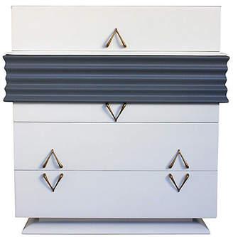 One Kings Lane Vintage Art Deco Bespoke White & Gray Dresser