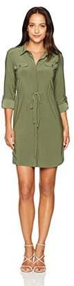 Notations Women's Petite Size Solid 3/4 Sleeve Point Collar Shirt Dress