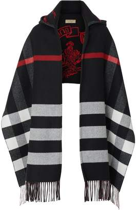 Burberry Check Wool Cashmere Hooded Scarf