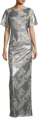 Rickie Freeman For Teri Jon Metallic Floral Scoop-Back Gown