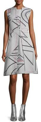 Piazza Sempione Sleeveless Multi-Print Jacquard Dress