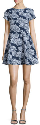 Shoshanna Short-Sleeve Floral-Print Party Dress, Navy/Optic $395 thestylecure.com