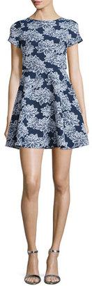 Shoshanna Short-Sleeve Floral-Print Party Dress, Navy/Optic $395 thestylecure.com