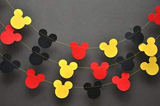 Mickey Mouse Garland - Paper Garland -Party Supplies - Club House Inspiration - Mickey Head Garland - Tricolor Mickey Head Garland Mickey Paper garland