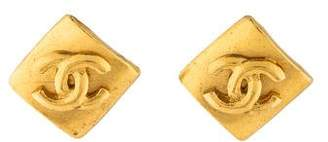 Chanel Square CC Logo Clip-On Earrings