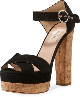 Valentino Suede Ankle-Strap Platform Sandals