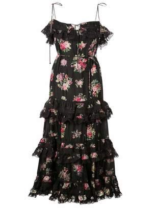 Zimmermann Honour Tier Spaghetti Strap Floral Dress