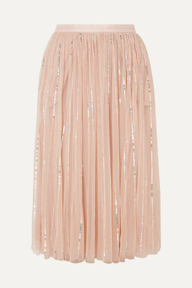 Needle & Thread Sequined Tulle Midi Skirt - Pink