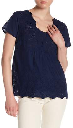 Skies Are Blue Eyelet Lace Cutout Tee